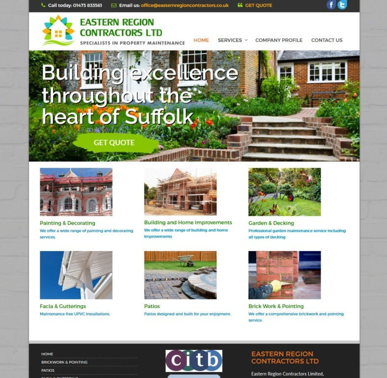 Eastern Region Contrcators Web Design