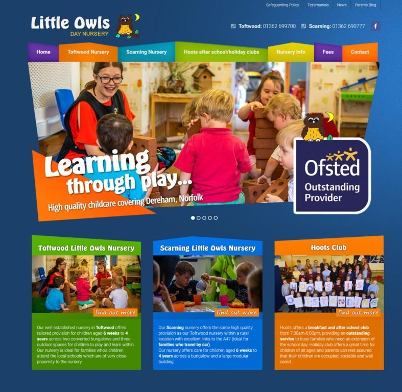 Little Owls Day Nursery wordpress website design in Dereham
