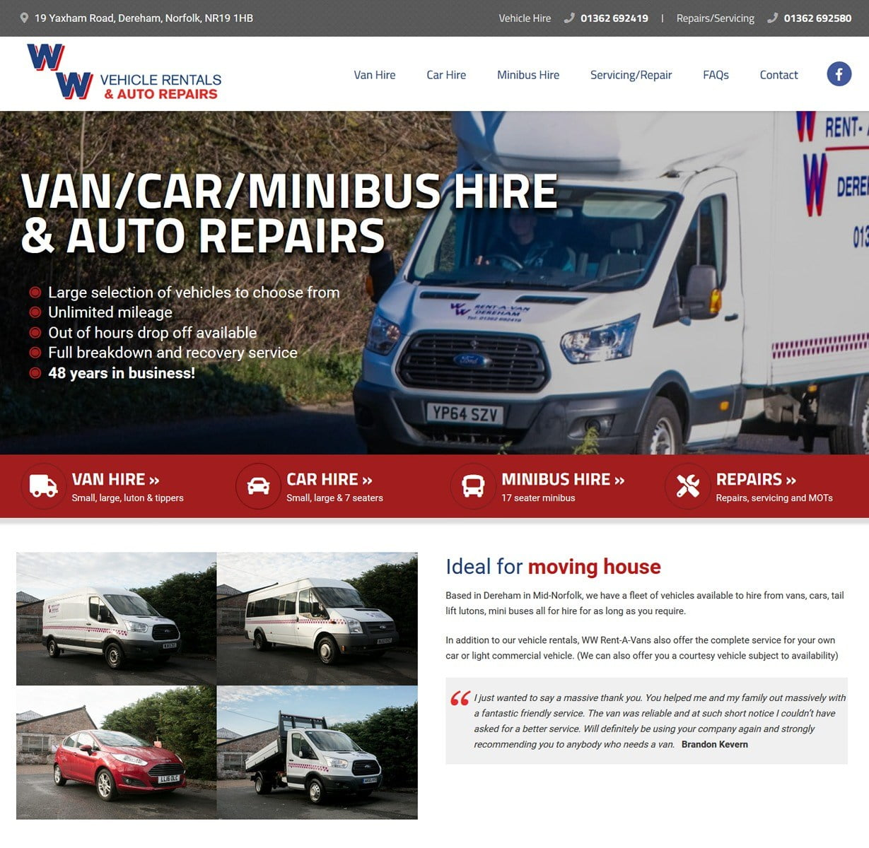 Website design for WW Rent A Van in Dereham, Norfolk