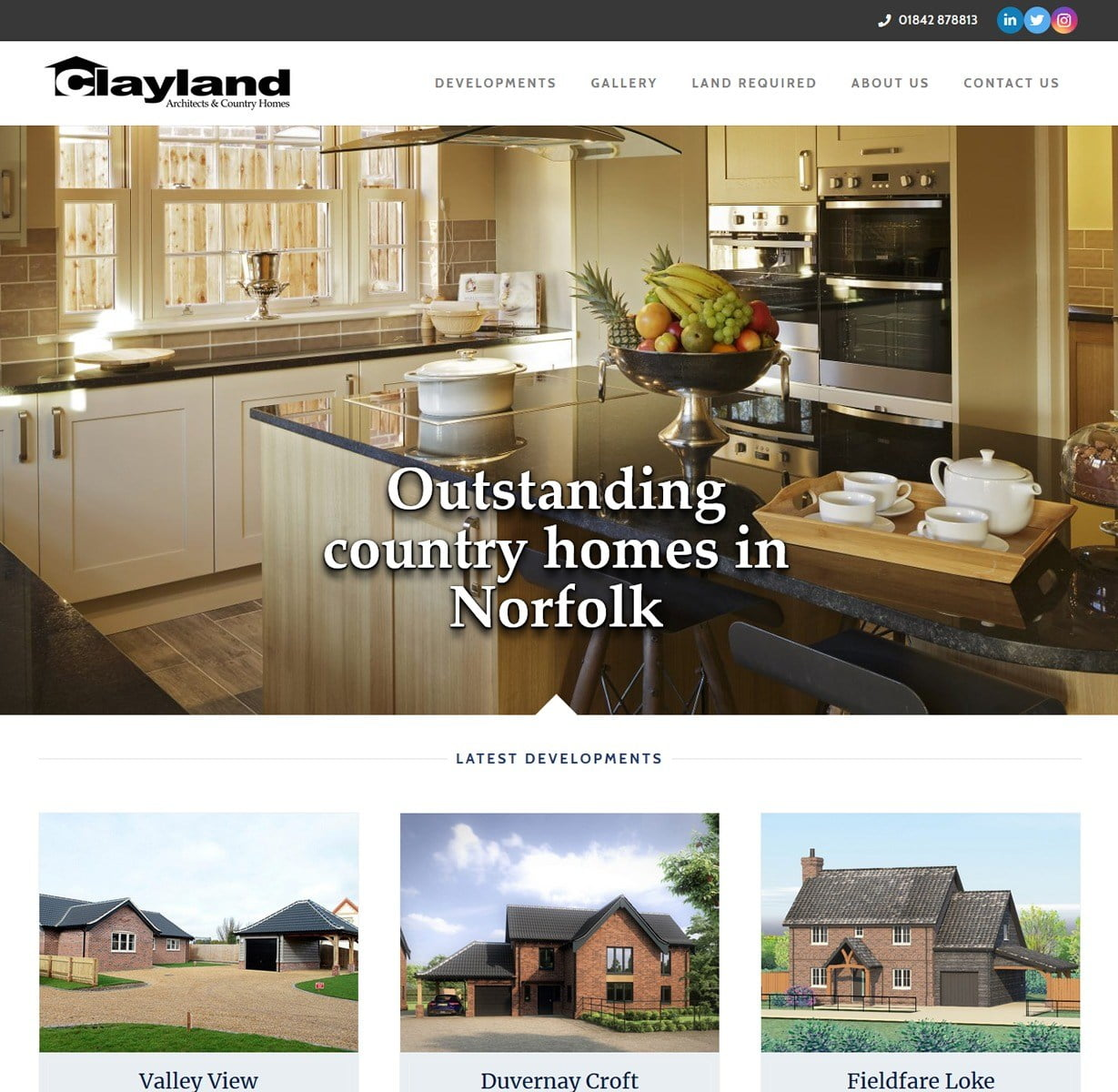 Clayland homes website build. Based in Mundford, Norfolk