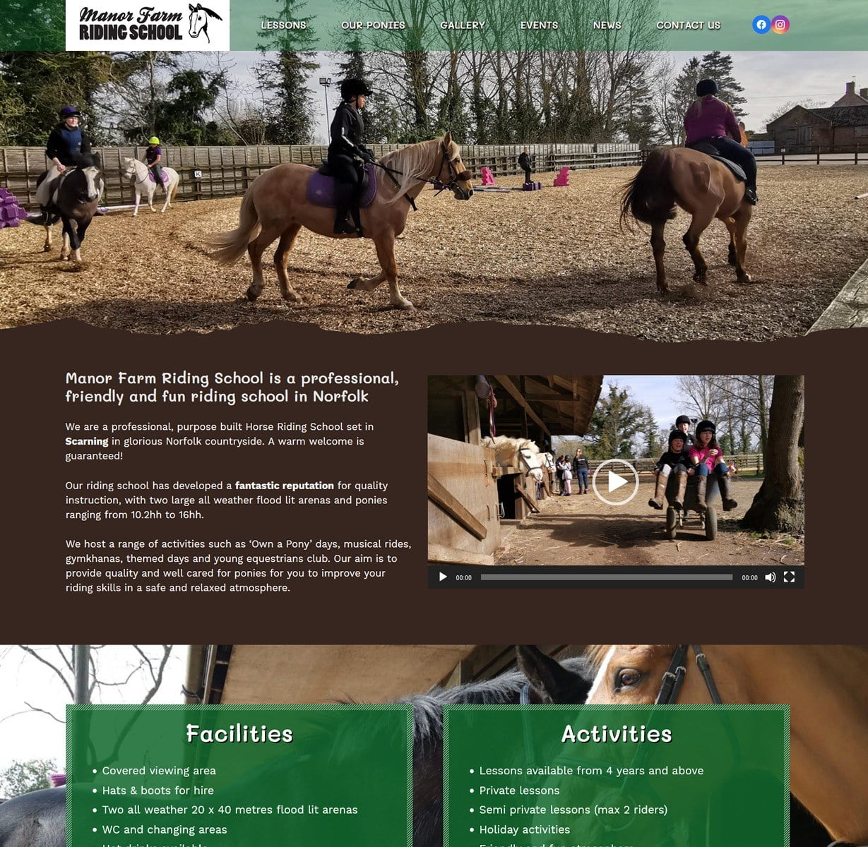 Manor Farm Riding School website design