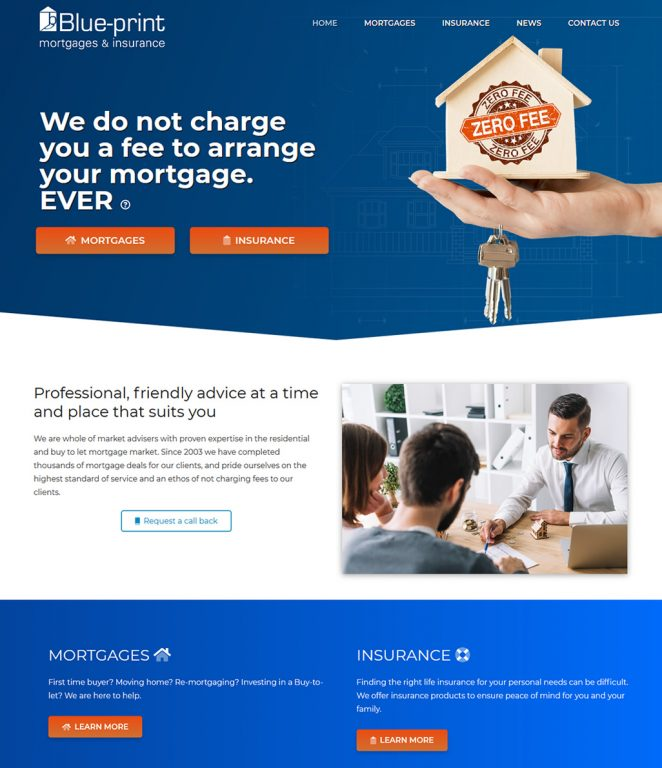 Blue-print mortgages and insurances website